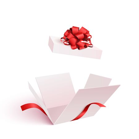 Illustration pour Open gift box with bow isolated - image libre de droit