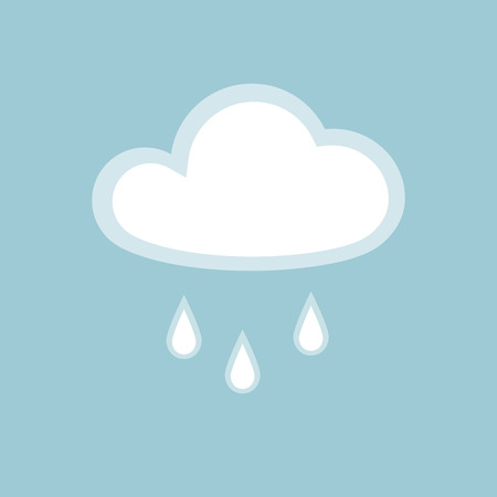 Cloud rain icon element simple app Isolated symbol on blue background Icon cloudy rainy wet weather Flat design element of application banner card meteo weather cloud rain icon Vector wallpaper app