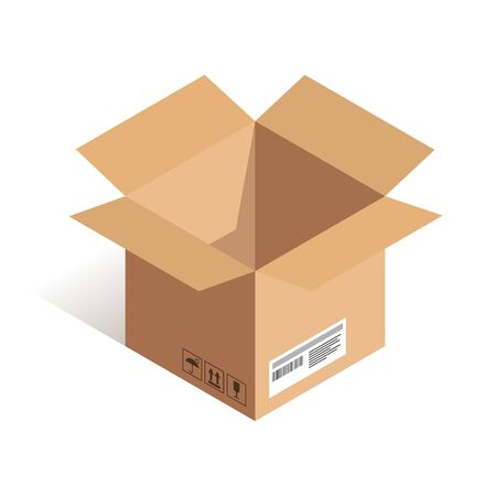 Illustration pour Open delivery box isometric icon isolated on white background. Online shipping vector illustration. Can use for web, apps, infographics - image libre de droit