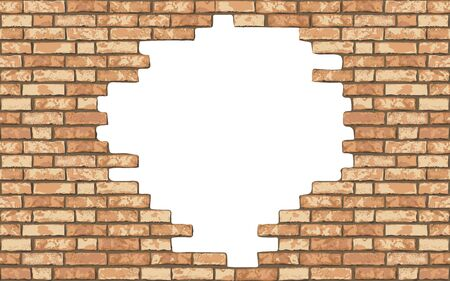 Illustration for Vintage realistic broken brick wall background. Hole in flat wall texture. Yellow textured brickwork for web, design, decor, background. Vector illustration - Royalty Free Image
