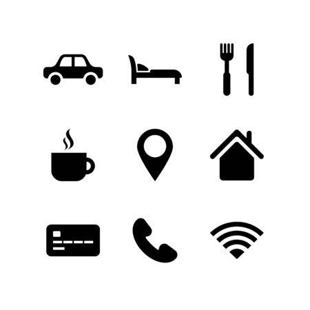 Illustration pour Travel icon set. City Travelling collection. Black car, coffee, cafe, transport, bank, hotel room symbols isolated on white. Vector illustration for web, app, infographics, social media - image libre de droit