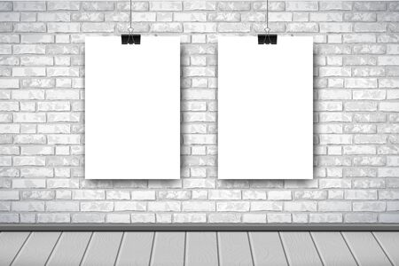 Illustration for Flat Interior with two empty white posters on gray brick wall. Trendy loft room scenery background, fashion gallery exhibition interior. Vector Illustration for web, poster mockup, exposition. - Royalty Free Image