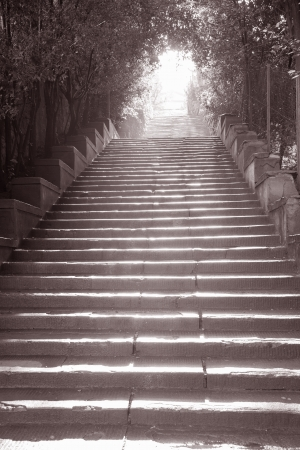 Stairway to Piazza Michelangelo, Florence, Italy in Black and White Sepia Tone