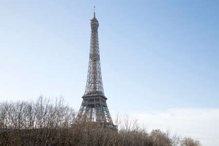 Photo for Eiffel Tower and Bare Trees in Paris; France - Royalty Free Image