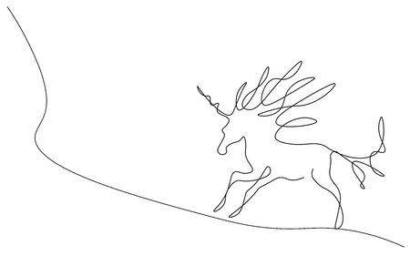 Unicorn silhouette one line drawing, fantasy magic animal