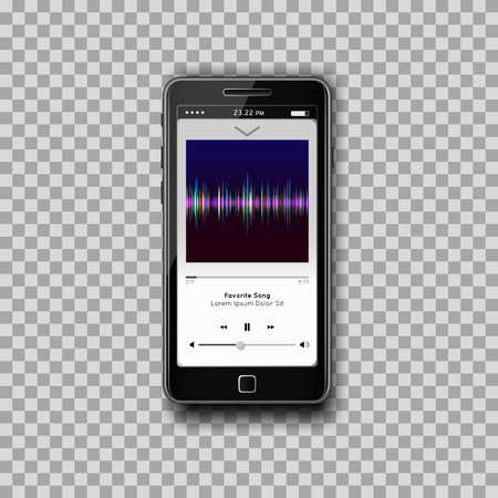 Illustration for Modern smartphone with musical Mp3 player on screen. Flat design template for mobile apps. Media player with full interface included, with spectrum analyzer, equalizer.  Transparent backdrop. Vector. - Royalty Free Image