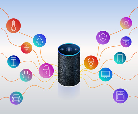 Illustration pour Smart speaker for smart home control. Icons on colorful gradient. Voice control gadget of your house. Intelligent voice activated assistant. Isolated object. Vector illustration - image libre de droit