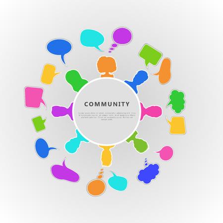 Photo pour Community infographic concept. Banner design for business team, communication through social network, people cooperation and friendship. Flat vector illustration - image libre de droit