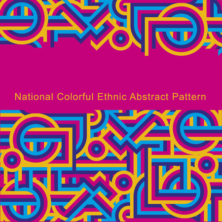 National ethnic colorful abstract pattern of lines. Cover Magenta pink