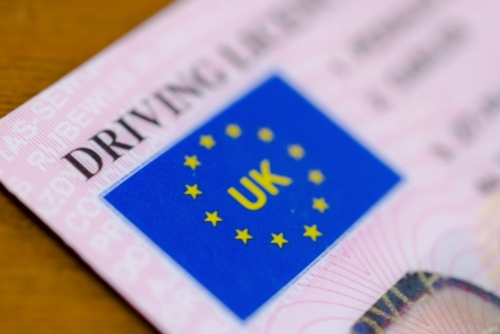 close up of a uk driving license
