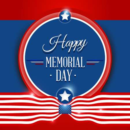 Happy Memorial day symbol with flag red background. vector illustration