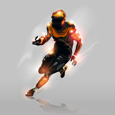 Abstract colorful american football player running with gray background
