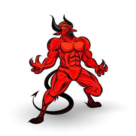 red devil character design on white background