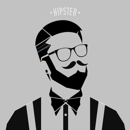 Ilustración de silhouette hipster men style on gray background - Imagen libre de derechos