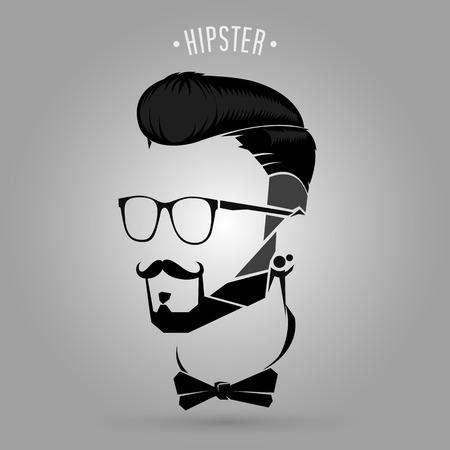 silhouette black hipster men trend symbol design