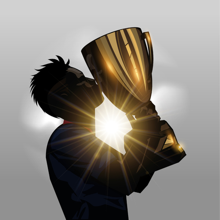 Silhouette soccer player kissing gold trophy with gray background