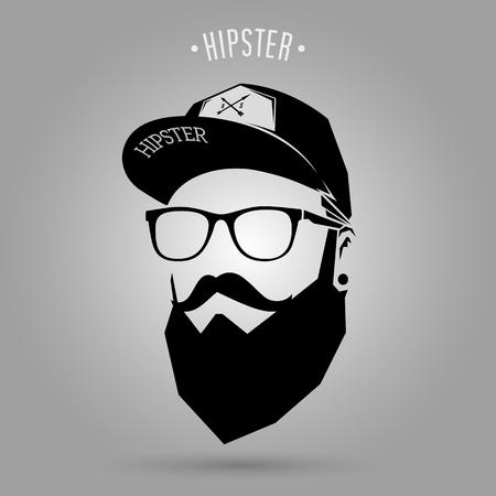 Ilustración de hipster man face with cap on gray background - Imagen libre de derechos