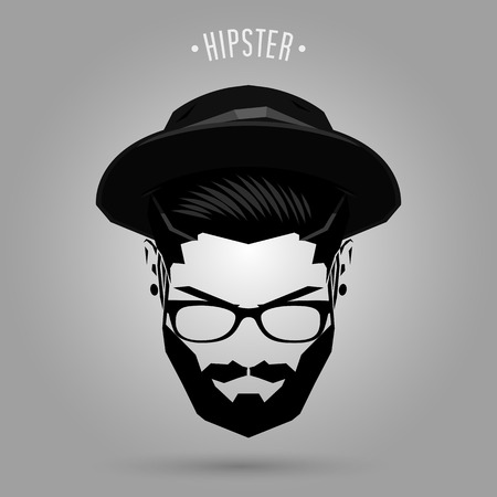 Illustration for hipster man face with hat on gray background - Royalty Free Image