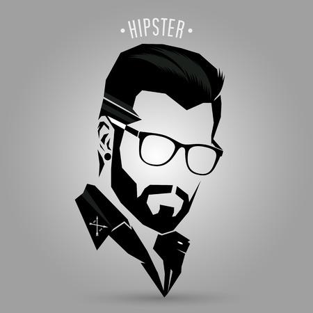 Vektor für Hipster hair style sign on gray background - Lizenzfreies Bild
