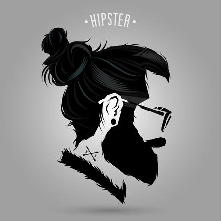 indie hipster man symbol design on gray background