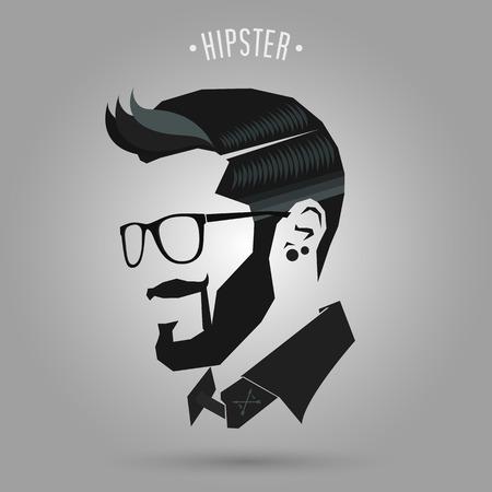 Vektor für hipster blue color hair style on gray background - Lizenzfreies Bild