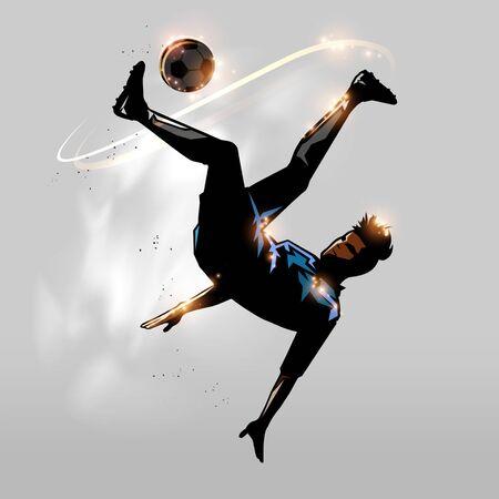 Illustration pour soccer player over head kick in the air design - image libre de droit