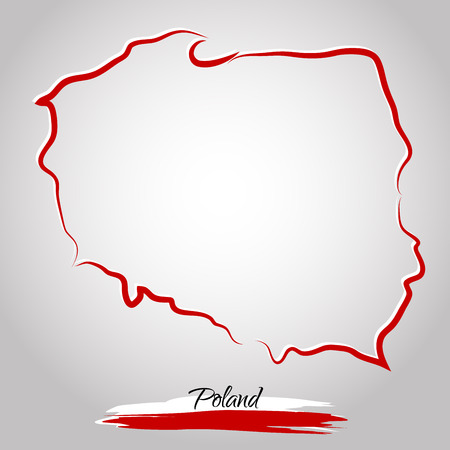 Vector map of Poland with colors of flag, on the light background