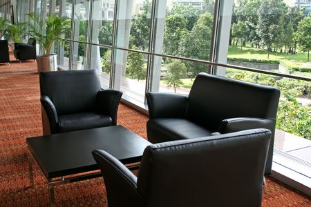 Elegant business waiting lounge with sofas and furniture