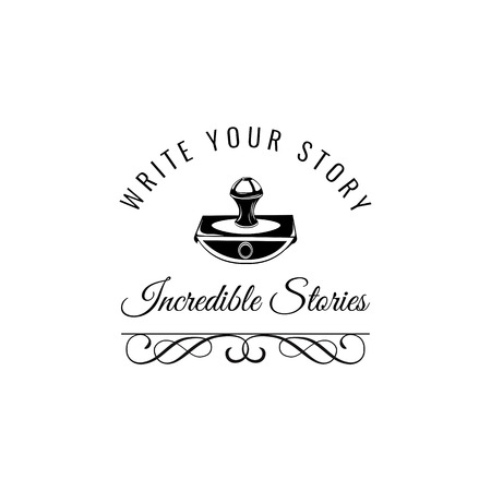 Illustration pour Write your story. Vintage Writer label. Old paperweight on a white background. - image libre de droit