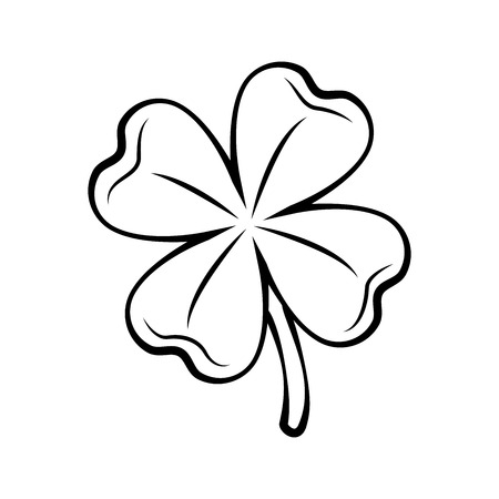 Illustration for Clover four-leaf contour. St. Patrick's day. Outlined Vector illustration isolated on white background. - Royalty Free Image