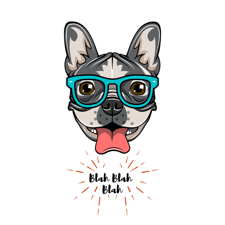 Illustration for Hipster Geek French Bulldog. Dog geek. Vector illustration isolated on white background. - Royalty Free Image
