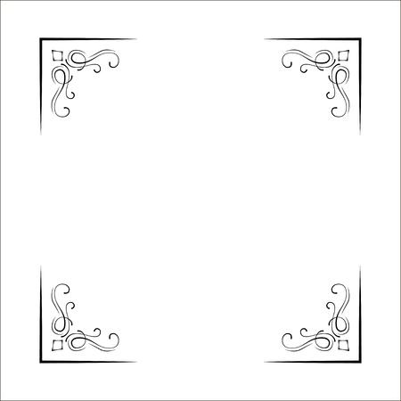 Illustration pour Decorative corners, swirls, ornate frame, Page decoration, Wedding design, Filigree dividers Vector illustration - image libre de droit