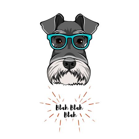 Illustration pour Schnauzer Geek. Dog nerd. Smart glasses. Dog portrait. Vector illustration - image libre de droit