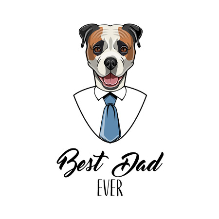 American bulldog dog. Fathers day greeting card. Best dad ever text.