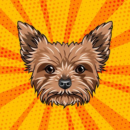 Ilustración de Yorkshire terrier dog portrait. Cute dog. Yorkshire Terrier breed. Vector illustration isolated on colorful background. - Imagen libre de derechos