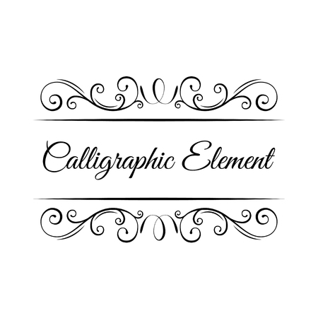 Page decoration. Calligraphic elements. Vintage ornate frames, decorative ornaments, flourish and scroll elements. Swirls, curls. Wedding invitation, Holiday greeting card. Vector illustration.