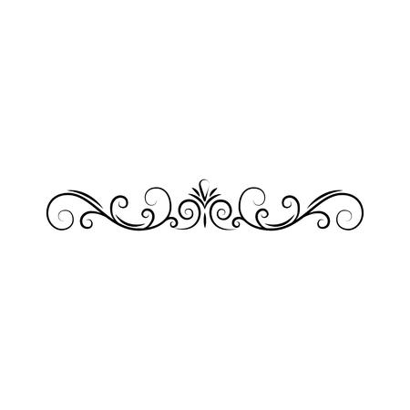 Illustration for Calligraphic border, page decoration. Swirls, filigree scroll. Design element. Vector illustration. - Royalty Free Image