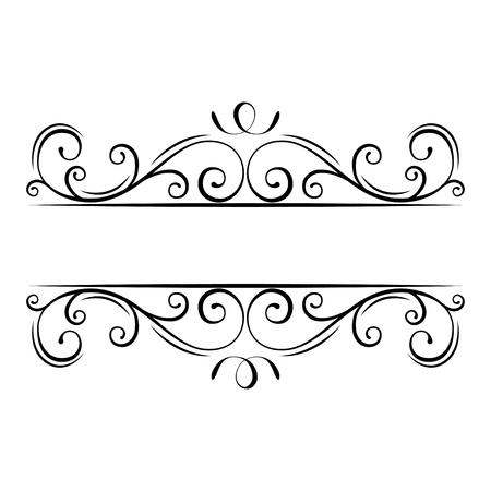 Illustration for Calligraphic flourish frame. Decorative ornate border. Swirls, Curls, Scroll filigree design elements. Vector illustration. - Royalty Free Image