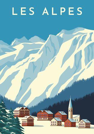 Ilustración de Alps travel retro poster, vintage banner. Mountain village of Austria, winter landscape of Switzerland. Hand drawing flat vector illustration. - Imagen libre de derechos