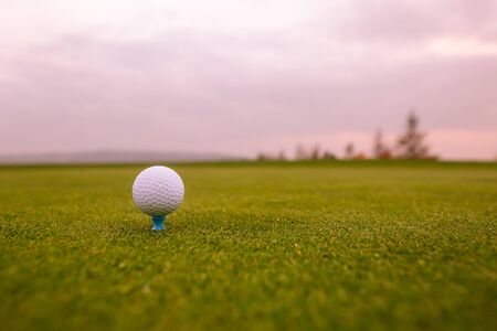 Photo for Close up of golf ball on the professional golf ground, ready for hit - Royalty Free Image