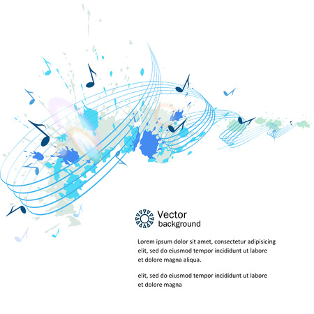 Abstract musical background - notes, paint spots.