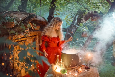 Photo pour pretty young lady with blond curly hair above big magic cauldron with smoke and bottles with liquids, forest nymph in long bright red dress with loose sleeves prepares potion near wooden house - image libre de droit