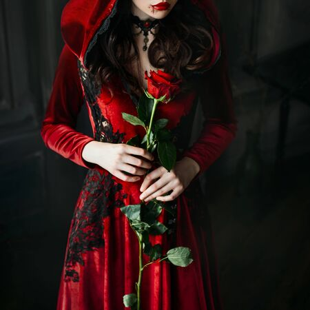 Photo for Portrait closeup silhouette gothic sexy mystical vampire woman. Luxury long dress, hood. Vintage necklace. Medieval queen hold red rose in hands. black wavy hair. Festive halloween makeup, drops blood - Royalty Free Image
