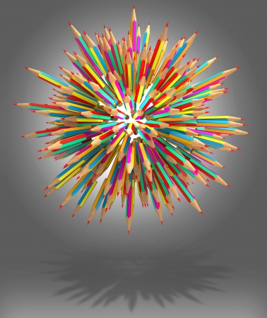 Color pencil caught in a tangle, 3d render