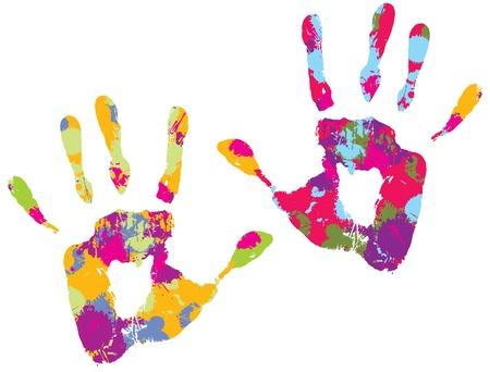 Two multi-colored handprints. Vector illustration