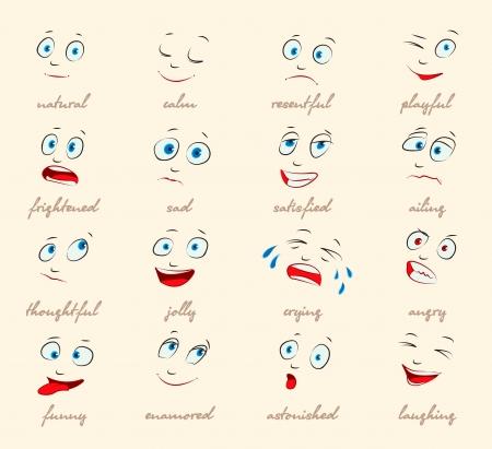 Emotions, Cartoon facial expressions set, Vector
