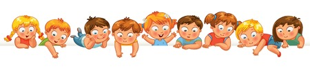 Cute little kids over a white background. Show a blank poster for your text entry. Banner. Vector illustration. Isolated