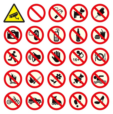 Various Collection of Prohibited sign