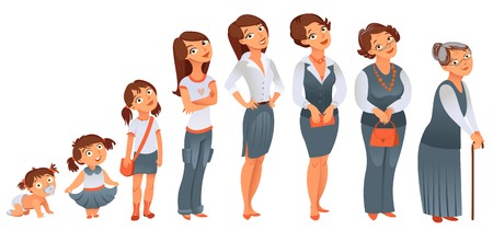 Generations woman  All age categories - infancy, childhood, adolescence, youth, maturity, old age  Stages of development  Vector illustration