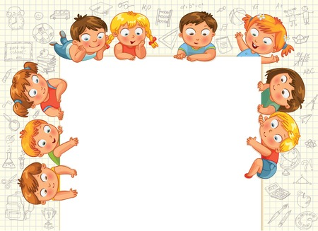 Cute little kids show a blank poster for your text entry  Vector illustration